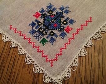 Vintage  White Hanky With Blue Cross Stitch Scandinavian Design & Tatted Edge