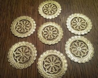 """2"""" Vintage Embossed Gold Foil Medallions 7 total"""