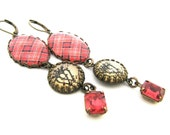 Fashion Tartan Jewelry - Watermelon Rose Pink Plaid Tartan Earrings with Watermelon Rose Glass Charms