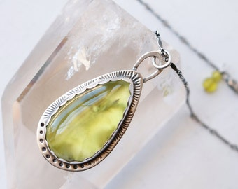 Lemon Drop Necklace - Prehnite Stone and Silver Necklace