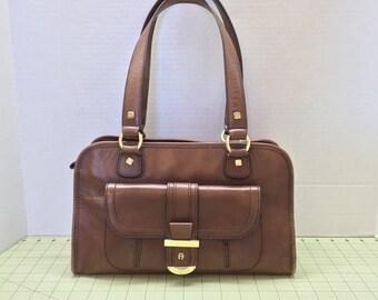 Vintage 80s Retro Brown Leather Etienne Aigner Satchel Purse