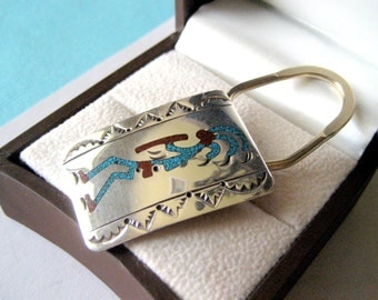 Navajo Sterling Silver and Turquoise Chip Inlay Key Ring