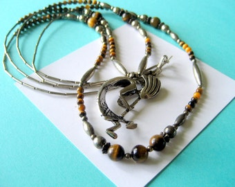 Navajo Sterling Silver Kokopelli and Tigers Eye Double Strand Necklace