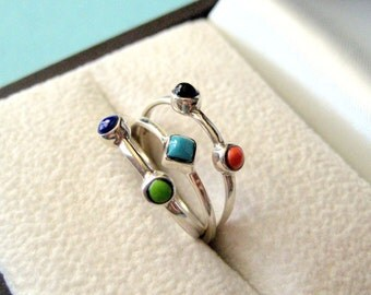 Set of 3 Sterling Silver and Gemstone Stacking Rings Size 7