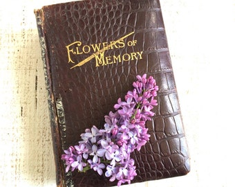 Flowers of Memory, Mothers Book, Funeral Book, Funeral Ephemera, Victorian Book, Funeral Poems, Tribute to Mother, Mourning , morbid book