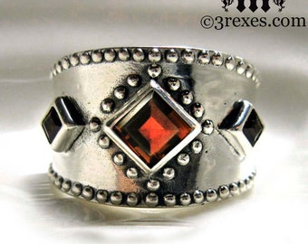 Medieval Silver Ring Gothic Garnet Stone Wide Studded Band 3 Wishes Size 8