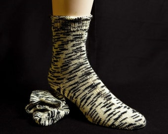 Natural and Black Patterned  Wool Socks
