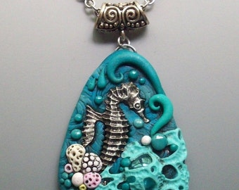 SUMMER SALE Seahorse Pendant Necklace Polymer Clay and Glass