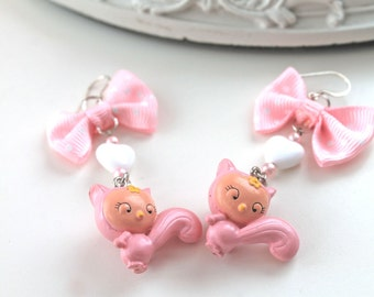 Pink squirrel earrings fairy kei kawaii lolita egl