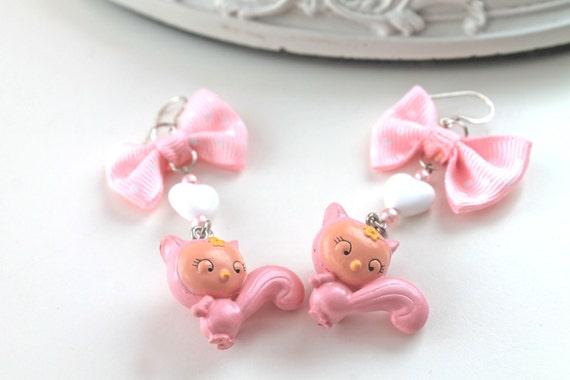 Pink squirrel earrings fairy kei kawaii lolita egl