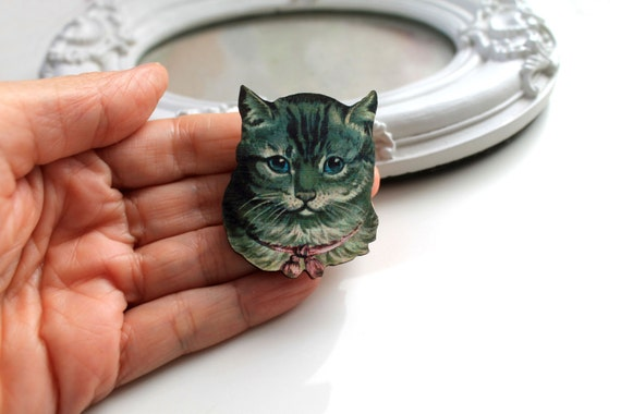 Cute vintage  cat kitten wooden brooch cute retro
