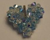 Handwoven Blue and Crystal Swarovski Heart Pendant