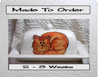 Ginger Rust Tabby On Ceramic Butter Dish Handpainted Original by Grace M Smith