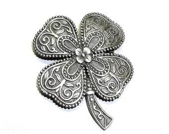 JJ large Shamrock pin Jonette brooch NOS pewter St.Patrick's Day
