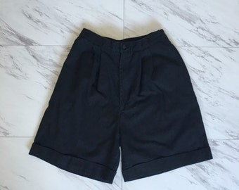 Vintage black high waisted shorts Pleated shorts cuffed shorts slouchy shorts