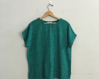 Vintage 1980a woven cotton top / Green cotton top Boxy top OVERSIZED woven top