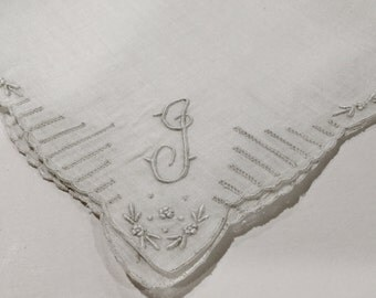 Vintage White Hanky With a White Initial J - Handkerchief Hankie