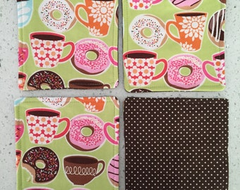 Drink Coasters - Set of 4 - Donuts and Coffee
