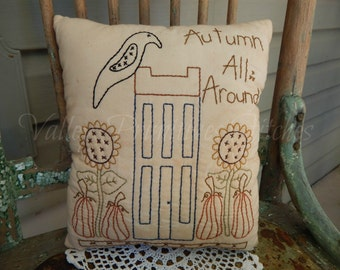 Decorative Autumn All Around Pillow, Hand Stitched Pillow, Saltbox, Fall, Autumn, Pumpkins, Sunflowers