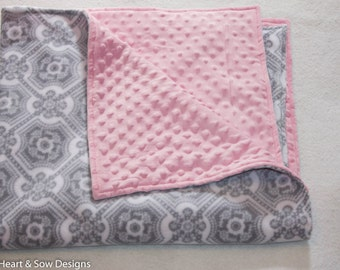 Minky Baby Blanket, Lovey, Security, Grey White Medallion, Pink Minky, Baby Blanket, New baby, Gift