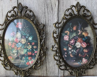 Two Metal Italian Frames in a Floral Print, Victorian Print, Baroque Frame, Italian Prints
