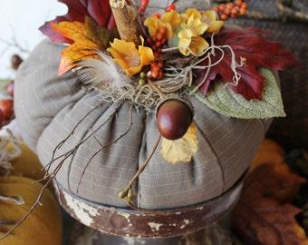 October Pumpkin, Fabric Pumpkin, Fall & Autumn, Thanksgiving Ideas, Halloween, Gourd, Lodge Decor, Rustic Cabin