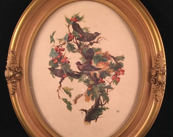 Vintage Gold Painted Wood Oval Frame Birds Picture