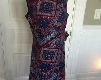 Vintage Ladies' Blue and Red Bandana Print Sleeveless Dress