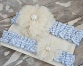 Blue and Ivory Lace Seersucker Garter Set