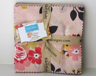SALE 5 inch charm fabric squares VINTAGE DAYDREAM by Riley Blake from design by Dani