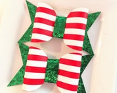LARGE  faux leather CHRISTMAS and glitter chunky bow set of 2