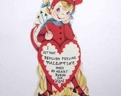Vintage Unused Children's Novelty Valentine Greeting Card with Cute Little Blonde Devil Girl Fire Flames