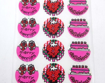 Vintage Eureka Strawberry Scratch 'n Sniff Stickers on Sheet Strawberries Shortcake