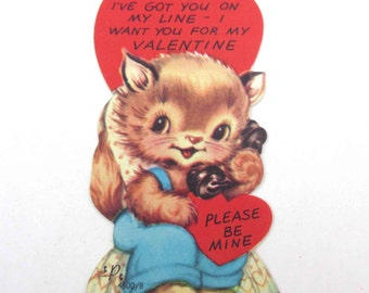 Vintage Children's Novelty Valentine Greeting Card with Adorable Tabby Cat on Old Fashioned Telephone or Phone