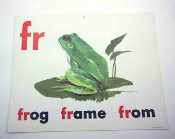 Vintage 1960s Childrens Giant Sized School Flash Card with Picture and Word for Frog