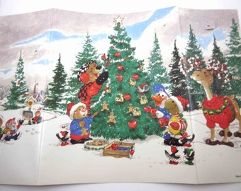 Vintage Trifold Christmas Advent Calendar with Suzy's Zoo Animal Characters