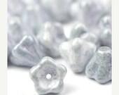 35% off Shop Closing Sale Czech Glass Beads Bell Flowers 8x6mm Ultra Luster Transparent Blue (25) CZP542