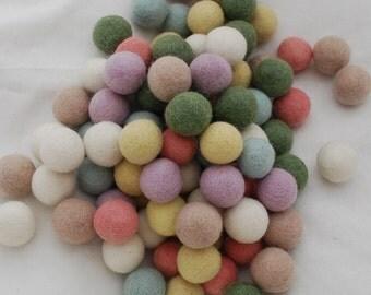 2.5cm - 100% Wool Felt Balls - 100 Count - Pastel Colors