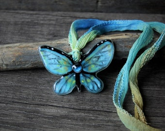 Blue Butterfly necklace,  fused glass pendant