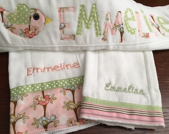 Sweet Tweet Personalized Baby Burp Cloth Set New Baby Gift Baby Shower