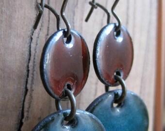 SALE Enamel Chandelier Earrings, Drop Earrings, Dangle Earrings, Brown and Blue Enamel on Copper, Nickel Free Kidney Ear Wire
