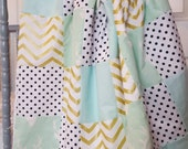 Mint Deer  Glitz  Patchwork Baby Blanket-2 sizes available- mint, gold