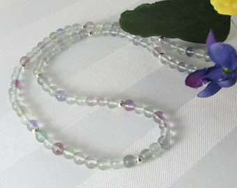 Fluorite and Sterling Silver Adjustable Necklace