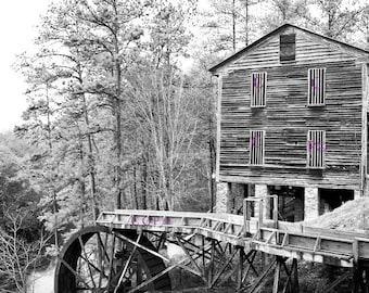 Dunns Grist Mill, Black And White, Mill Photography, Landscape Print, Old Mill, Fine Art Print, Wall Decor, 8x10 Artwork, Den Decor