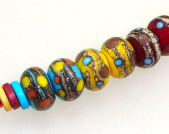 Handmade Lampwork Glass Beads - Chesterfield! 3 pairs. Silvered ivory, dots, on turquoise, yellow, red.