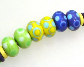 Handmade Lampwork Glass Beads - Limon! 3 pairs. Dotties in lime, lemon, blueberry. Stacked dots, earring pairs, turquoise, white.