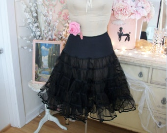 vintage jet black tulle netting crinoline, square dance tiered petticoat, malco modes size S, great condition, inky black sheer crisp net