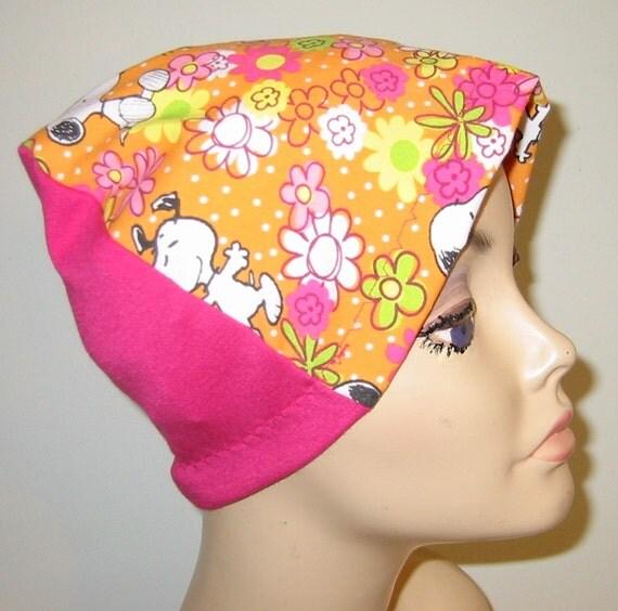 Kid's  Chemo Hat, Snoopy & Woodstock,  Kid'sCancer Cap, Alopecia, Sleep Cap