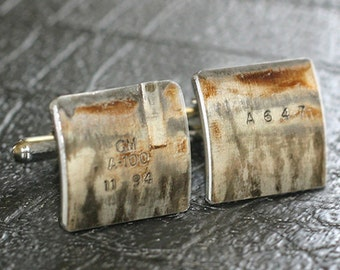 Chevy Engine Part CUFFLINKS - with original stampings of part #s and letters