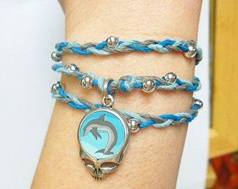 Grateful Dead Steal Your Dolphin Hemp Wrap Bracelet Anklet Necklace   SYF handmade macrame jewelry  hippie